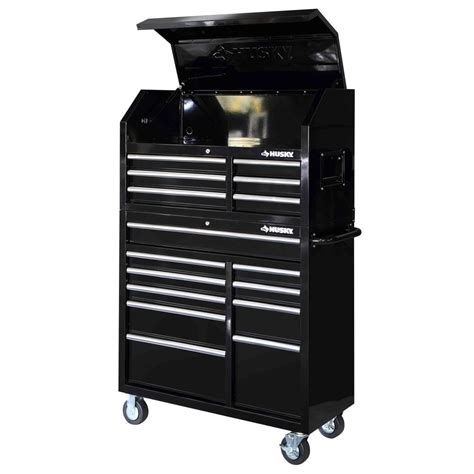 tool chest and cabinet husky 41 in 16 drawer tool chest and rolling tool cabinet set black hotc4116b1qes the home depot