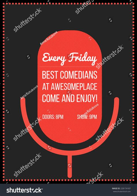 Stand Up Events by Stand Up Comedy Event Poster Vector Illustration Of Red