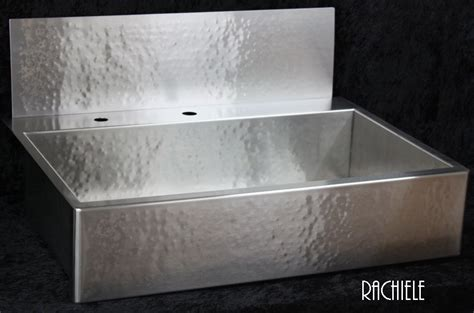 Apron Front Sink With Backsplash : Rachiele Custom Hammered Stainless Apron Front Sinks Made
