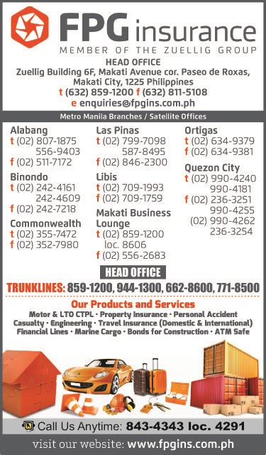 We also have several members of our personal and commercial lines teams in this location to serve our local p&c clientele. FPG INSURANCE in Makati City, Metro Manila - Yellow Pages PH