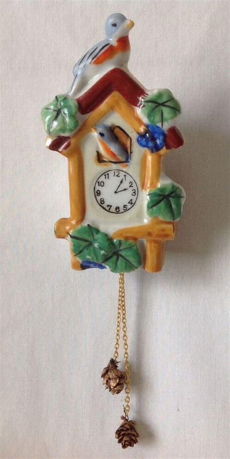 luster glass l vintage cuckoo clock blue bird wall pocket planter luster