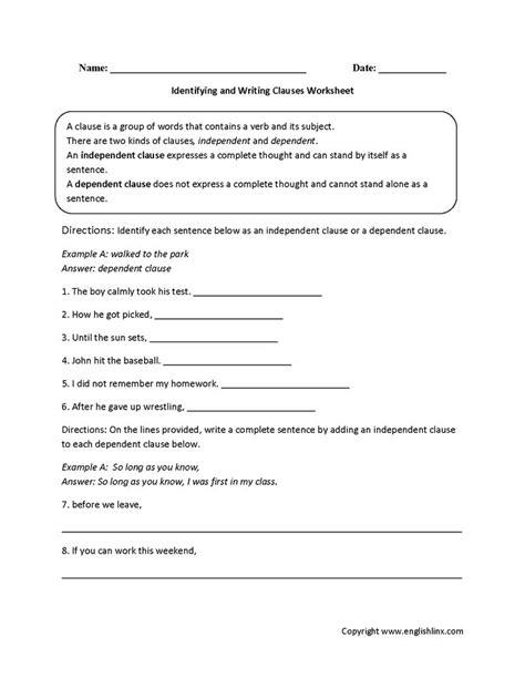 identifying  writing clauses worksheet  images