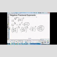 Negative Fractional Exponents Youtube
