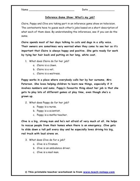 Inference Worksheets  Inference Game Show What's My Job?  Reading  Pinterest Language