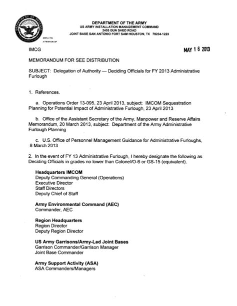 delegation  authority memo