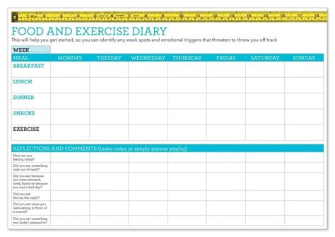 food and exercise journal template food diary template healthy food guide
