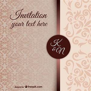 Vintage wedding invitation template with damask pattern for Damask wedding invitations template free