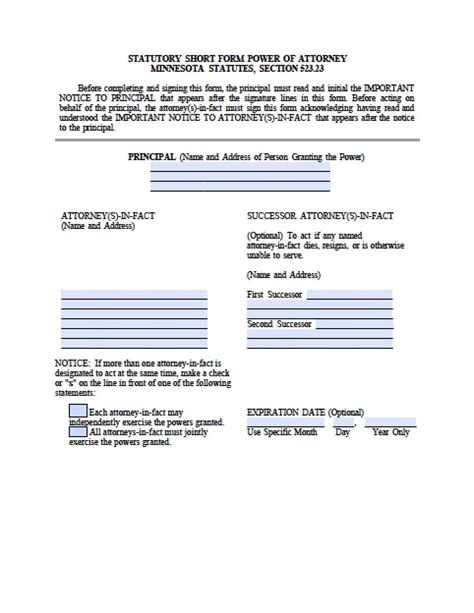 minnesota durable financial power  attorney form power
