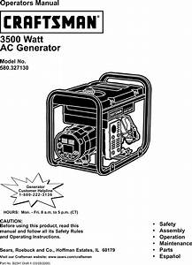 Craftsman 580327130 User Manual 3500 Watt A C Generator