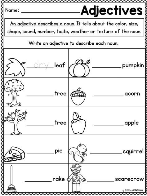 adjective coloring worksheets 1st grade color of