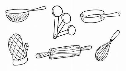 Baking Tools Drawing Coloring Pages Draw Vector