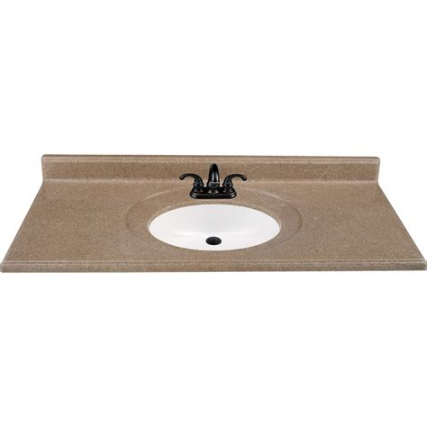 shop style selections kona solid surface integral bathroom vanity top common 49 in x 22 in