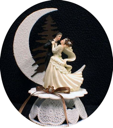 chic rustic mocha coffee brown wedding cake topper
