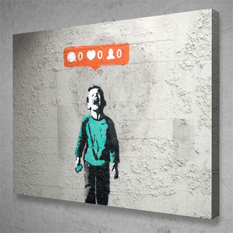 Banksy No Followers Crying Social Media Canvas Graffiti ...