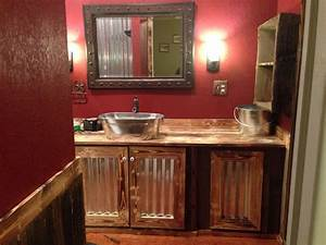 part 2 of our rustic bathroom the bottom half is old barn With kitchen cabinets lowes with rustic wall art ideas