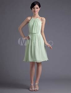 Short Bridesmaid Dress Pastel Green Party Dress Halter A ...