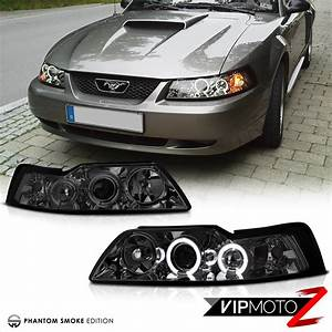 1999-2004 Ford Mustang V8 V6 GT 5.0 [SMOKE] Halo LED Projector Headlights Lamps | eBay