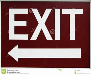 Exit Sign With Left Arrow Stock Image  Image Of Down  Exit