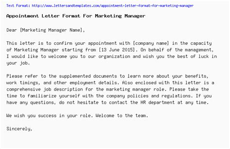 appointment letter format  marketing manager