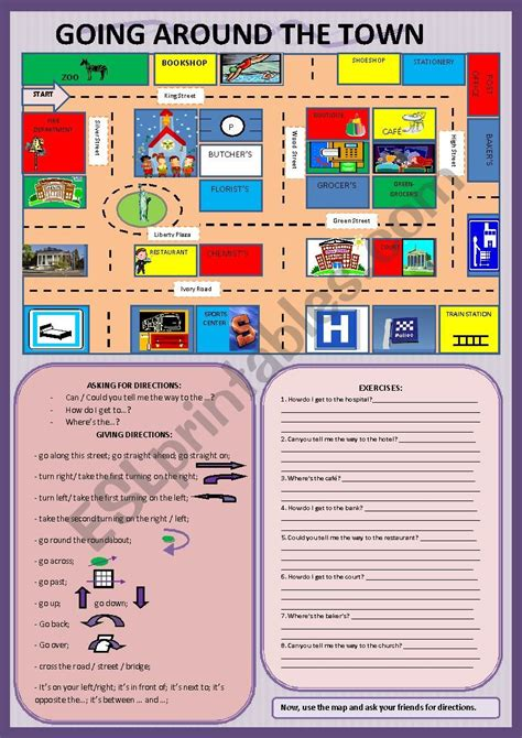 town    giving directions esl worksheet