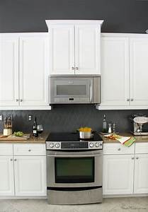 painting tiles and other great tile updates With kitchen colors with white cabinets with charcoal wall art