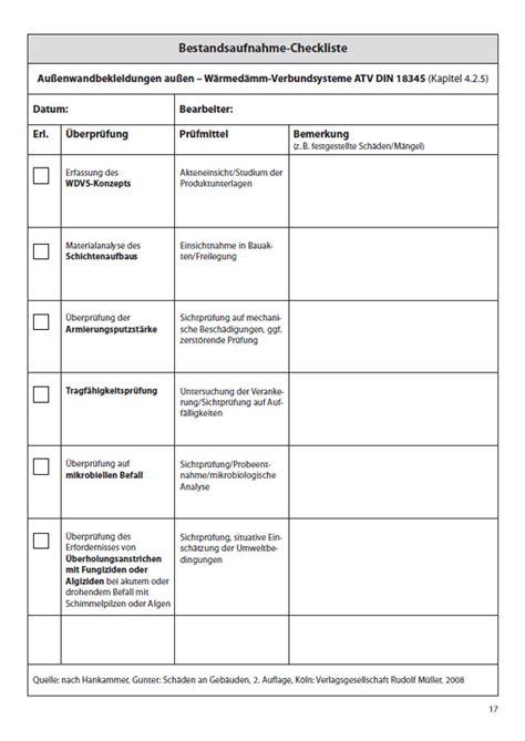 checklisten zur bestandsaufnahme  gebaeuden bauleiter