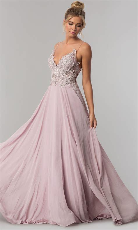 Long V-Neck Open-Back Chiffon Prom Dress by PromGirl ...