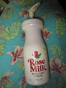 Vintage 1970s Rose Milk Skin Care Cream Pink Plastic Bottle 8