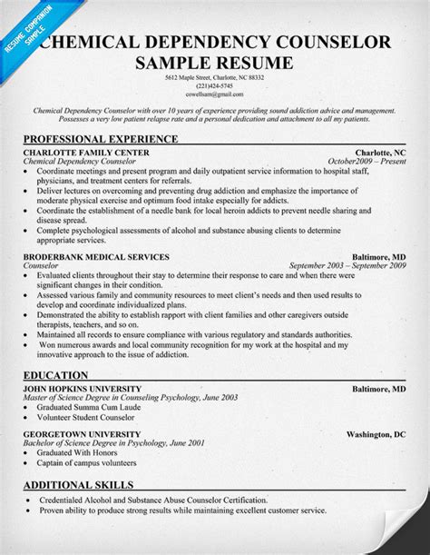 Substance Abuse Counselor Resume Objective by Resume Exles Chemical Dependency Counselor Http Resumecompanion Nursing