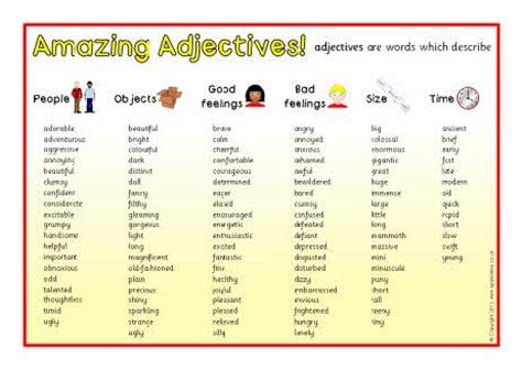 adjective list from sparklebox co uk writer s workshop