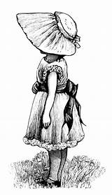 Victorian Clip Clipart Bonnet Hand Illustration Coloring Illustrations Pages Child Children Dress Female Posies Olddesignshop Adult Cliparts Lady Library Ladies sketch template