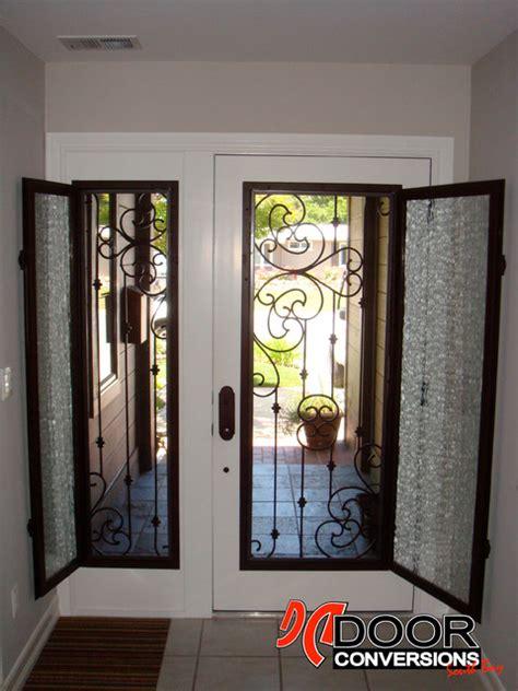 wrought iron door inserts sonata design hinged glass  screen included san francisco  door conversions