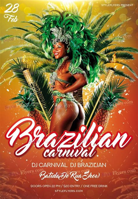 Brazilian Carnival Flyer Template by 44 Best Club And Party Psd Flyers Images On Pinterest