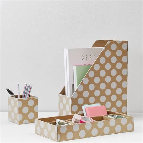 cute desk accessories printed paper desk accessories set natural kraft white