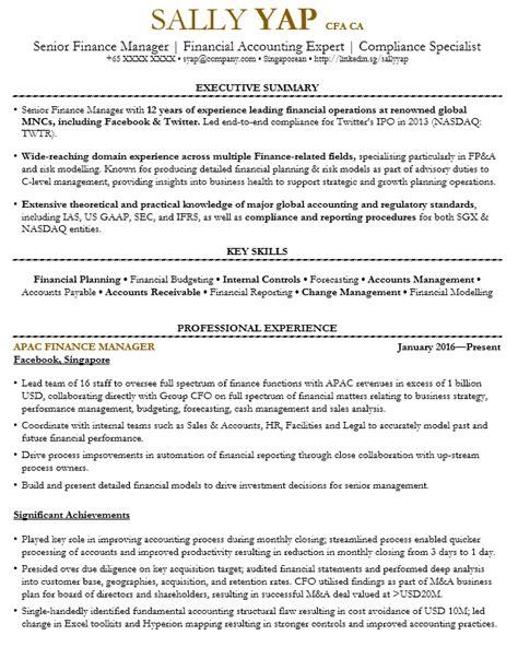 Finance Manager Resume by Finance Manager Resume Sle Singapore Cv Template