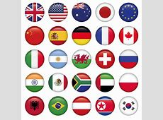 Set Of Round Flags World Top States Stock Photos Image