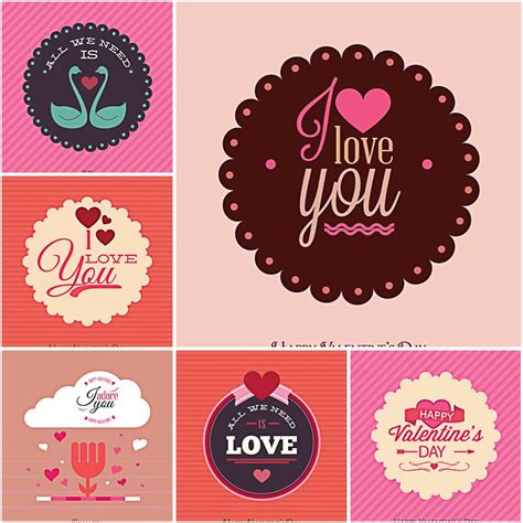 laconic modern valentines day set vector