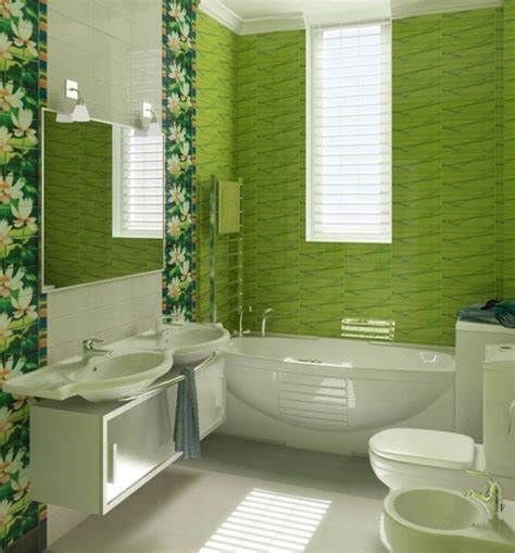 green bathroom ideas green flower pattern bathroom tile ideas home interiors