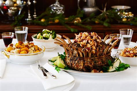 christmas dinner food ideas pork crown roast with pear stuffing recipe