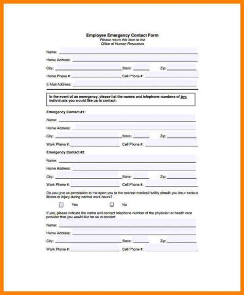 11 employee emergency contact form template farmer resume
