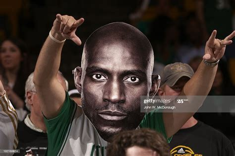 View of Boston Celtics fan with Kevin Garnett mask during ...