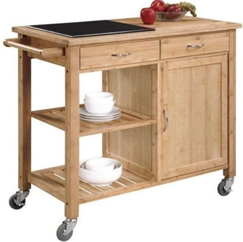 linon 44015bmb 01 kd u bamboo kitchen cart with inlaid