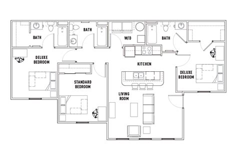 3 Bedroom 3 Bath Floor Plans by 3 Bed 3 Bath Dlx The Province Rochester Student