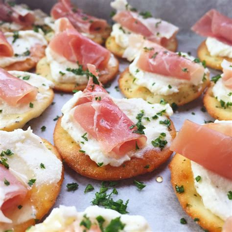 shrimp canapes recipes ricotta and prosciutto cracker appetizer seasonly creations