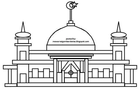 contoh gambar mewarnai masjid hd
