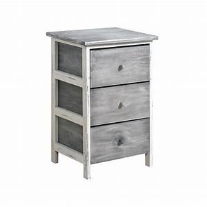 Kommode Grau Vintage : mobili rebecca kommode nachttisch 3 schubladen holz grau ~ Michelbontemps.com Haus und Dekorationen