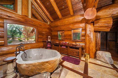 harry scott rustic bathroom vancouver  pioneer log homes  british columbia