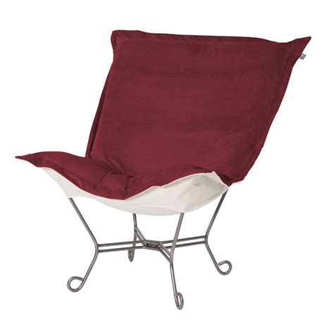 chicago textile puff chair merlot