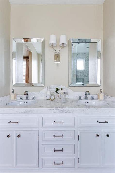 bathroom vanity backsplash images curved marble dual vanity backsplash with beveled mirrors