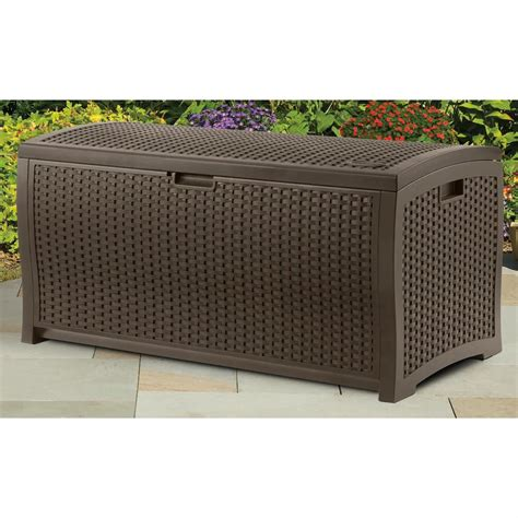 Suncast Wicker Deck Box 73 Gallon by Suncast 174 Resin Wicker 73 Gallon Deck Box 202210 Patio